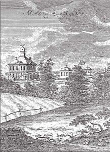 Rycina Marie Mons z 1730 r. Na głównym planie pałacyk, dalej dwa pawilony dla służby.